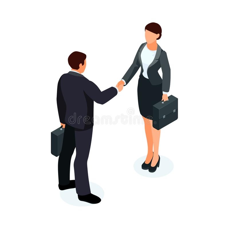 Isometric businessmen shake hands. 3d businessmen came to an agreement and completed the deal with a handshake. Template for banner or infographics. Vector stock illustration