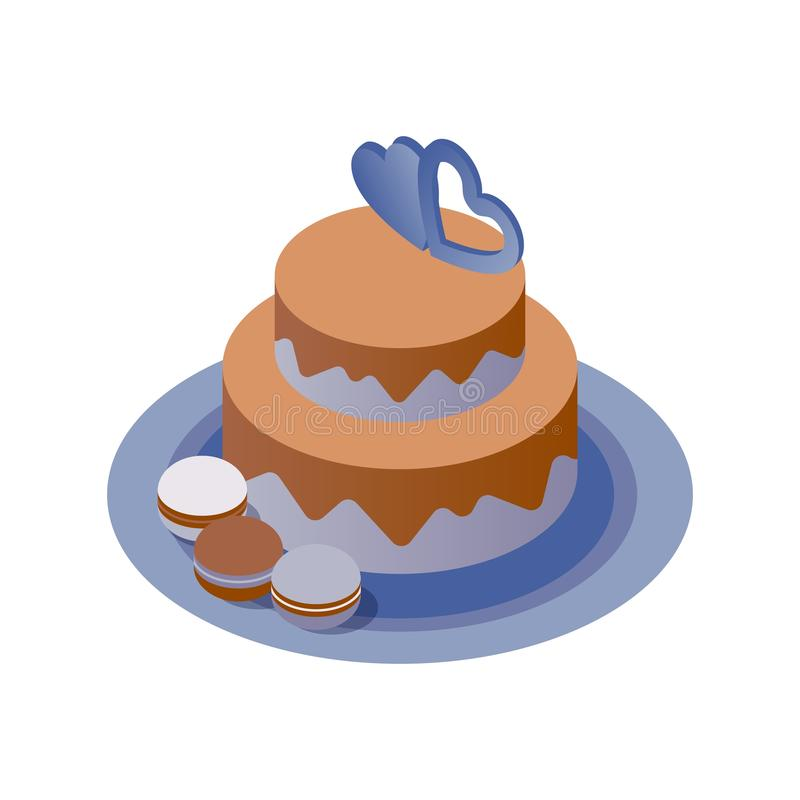 Isometric cake decorated with two hearts and macarons on a plate. Vector isolated on white 3d illustration good for couple vector illustration