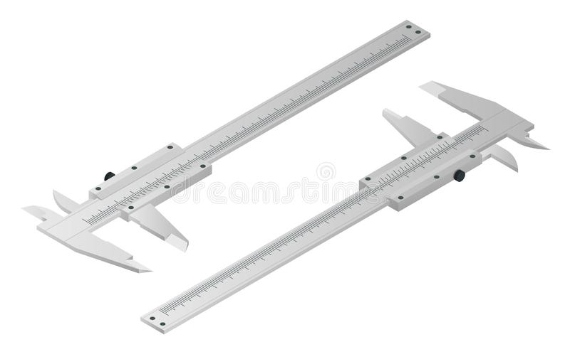 Isometric calipers isolated on white. Vernier caliper, metal equipment engineering work measurement tools. Device used vector illustration