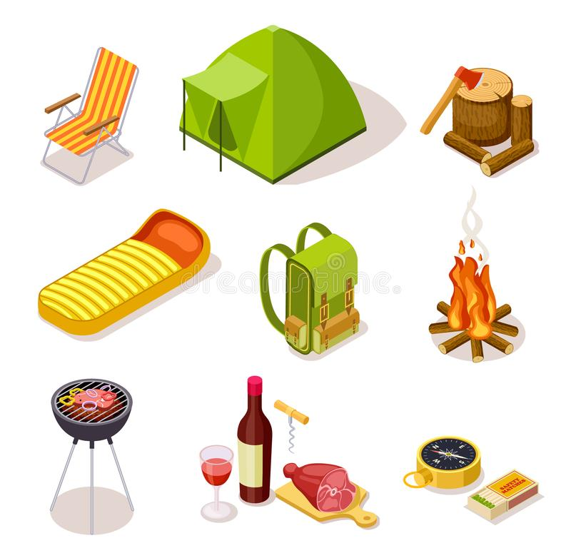 Isometric camping. Summer picnic with fireplace, tourism equipment and tent surrounded by forest trees. 3d vector royalty free illustration