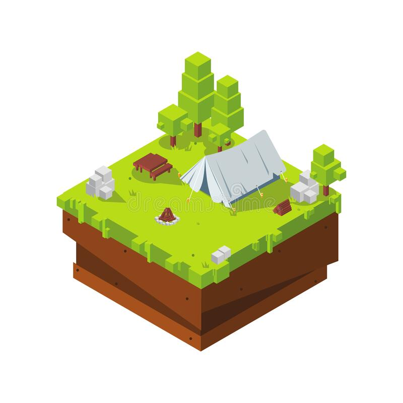 Isometric Camping Tent Spring stock photos
