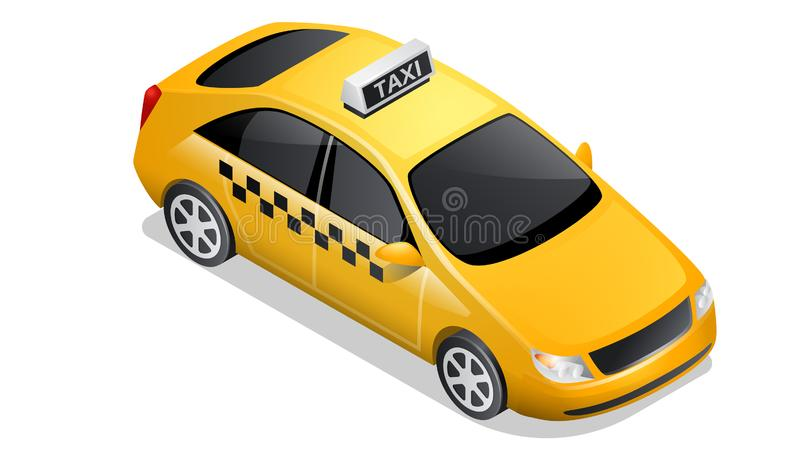 Isometric car icon checkered cab isolated on white. Isometric car icon isolated on white background. Vehicles for passenger transportation, yellow taxi sedan or royalty free illustration