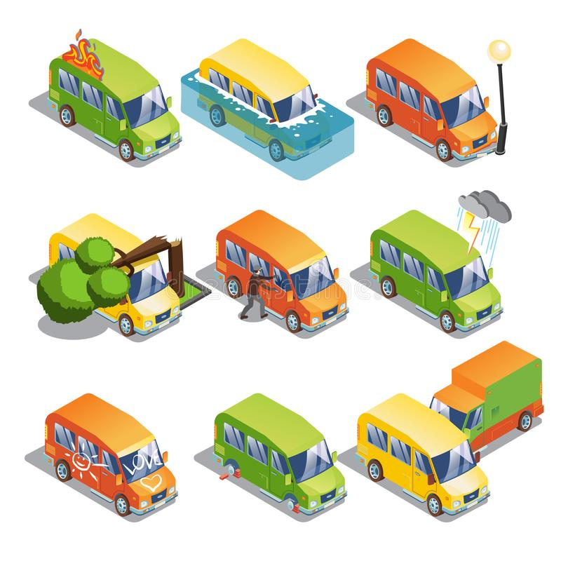 Isometric Car Insurance Set vector illustration