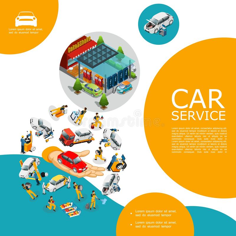 Isometric Car Service Template stock illustration
