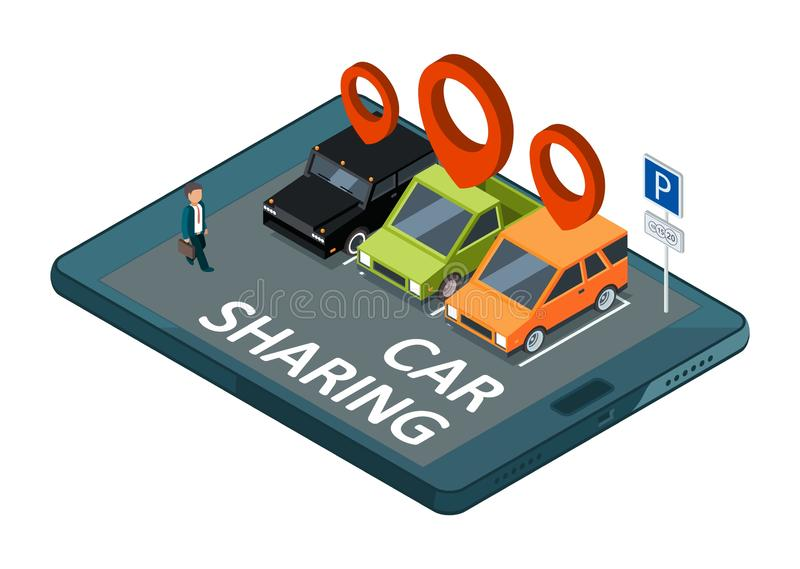 Isometric car sharing vector concept. Mobile app parking with cars and businessman illustration vector illustration