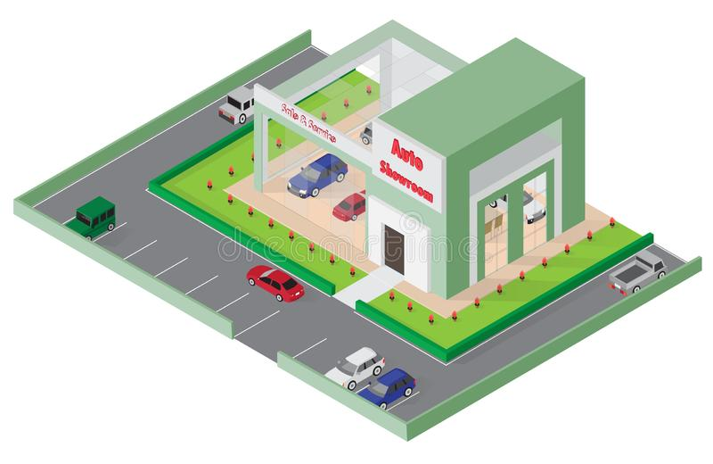 Isometric Car Store, showroom, service, building icon-. Vector illustrator royalty free illustration