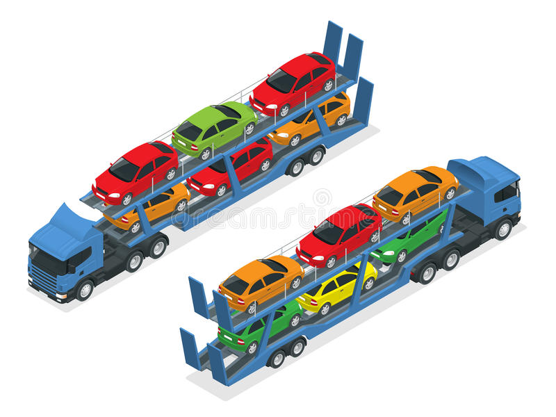 Isometric Car transport truck on the road with different types of cars flat vector illustration. The trailer transports stock illustration