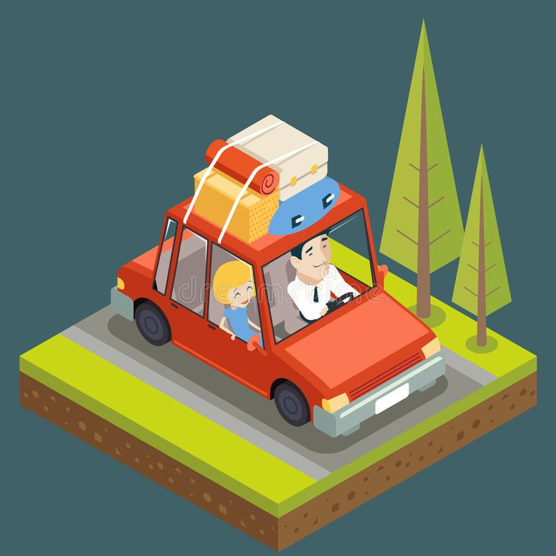 Isometric Car Trip Family Adult Road Concept Flat Design Icon Mountain Forest Background Vector Illustration vector illustration