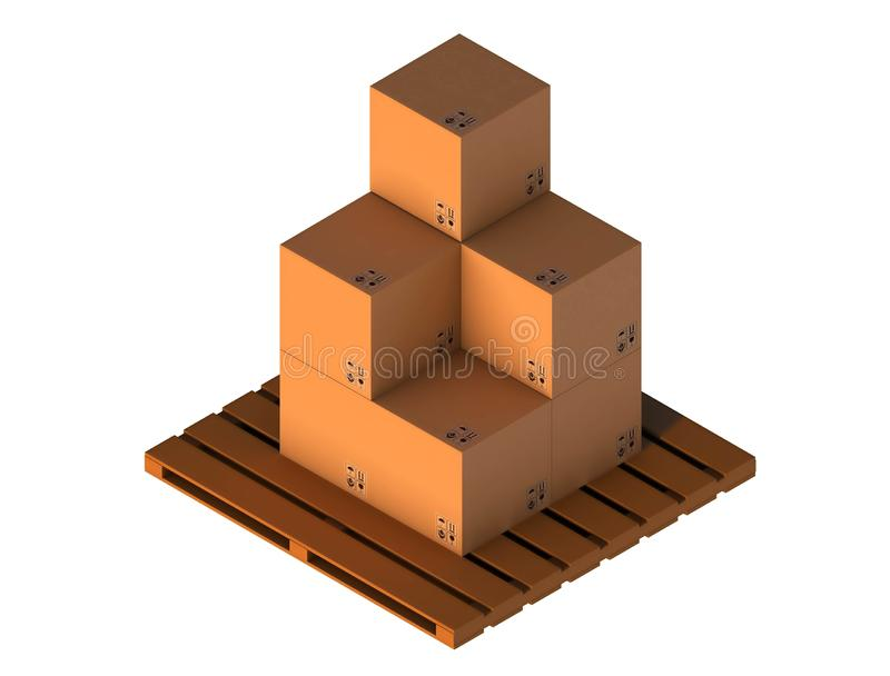 Isometric Cardboard Boxes Isolated On White. Stand on the pallet. royalty free illustration