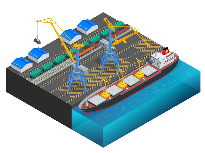 Isometric Cargo containers transshipped between transport vehicles for onward transportation Port warehouse and shipment vector illustration