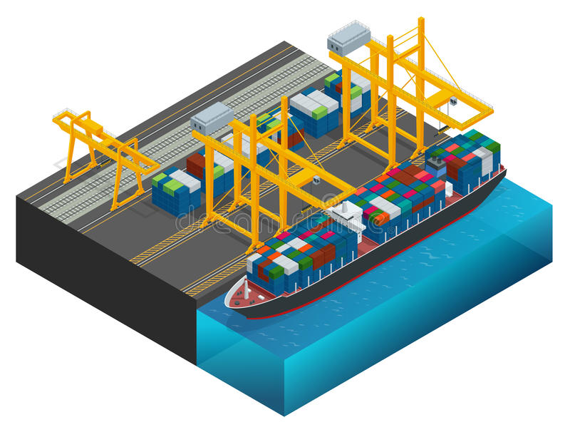 Isometric Cargo containers transshipped between transport vehicles for onward transportation Port warehouse and shipment royalty free illustration