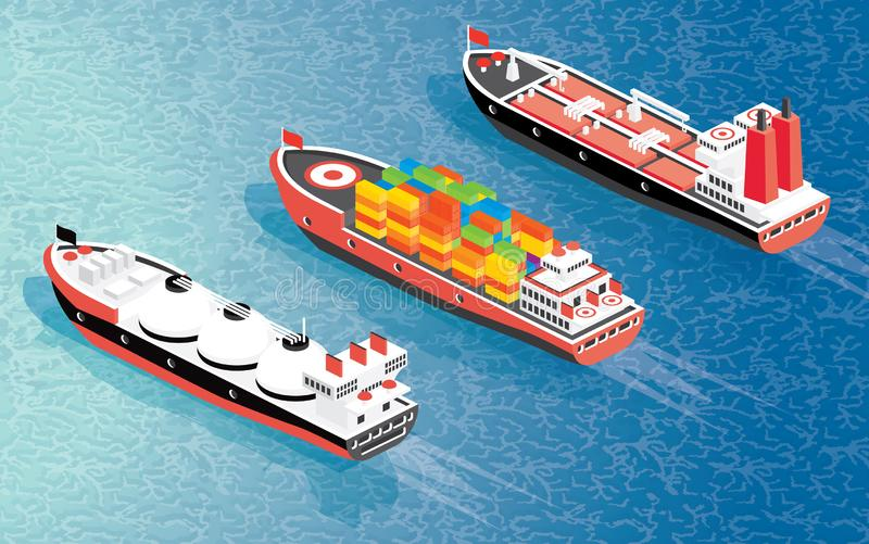 Isometric Cargo Ship Container, LNG Carrier Ship and Oil Tanker royalty free illustration