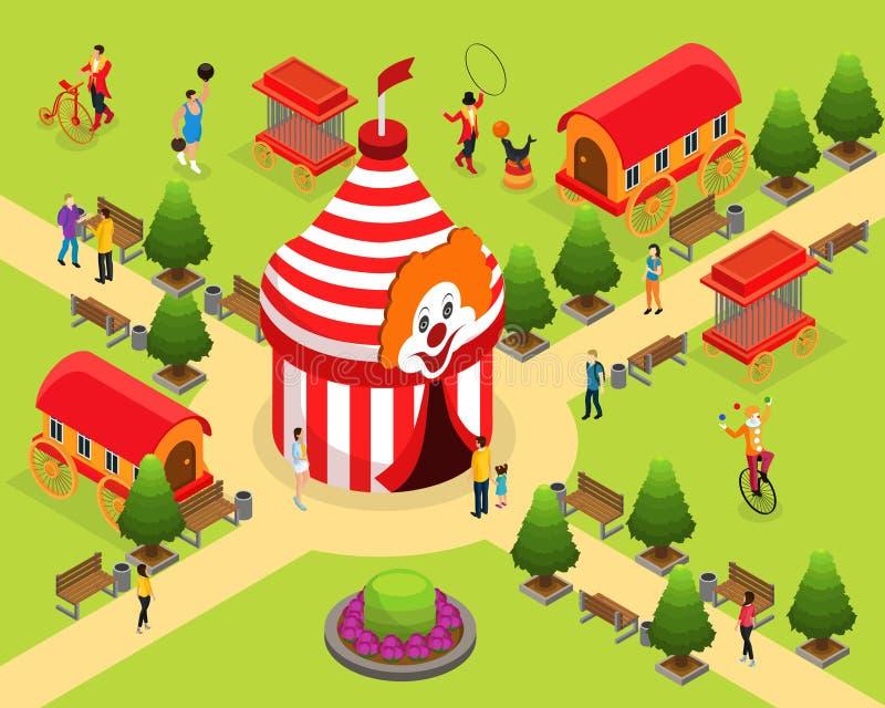 Isometric Carnival Circus Template stock illustration