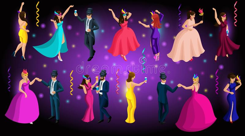 Isometric carnival, 3d men and women in masks, Venetian masquerade, dances, beautiful lush dresses, elegant costumes vector illustration