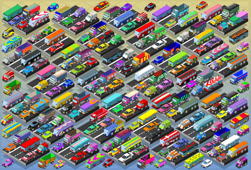 Isometric Cars, Buses, Trucks, Vans, Mega Collection All In royalty free illustration
