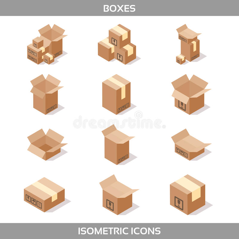 Isometric carton packaging boxes set in isometric style with postal signs this side up fragile stock illustration