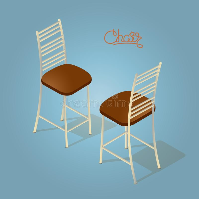 Isometric cartoon chair icon isolated on blue. stock illustration