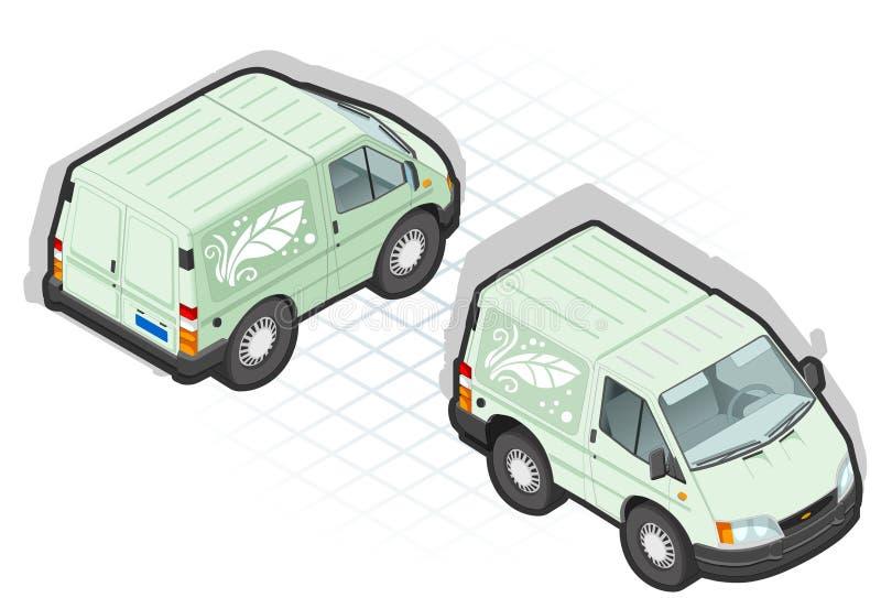 Isometric Cartoon Green Van Royalty Free Stock Photos
