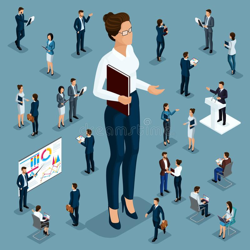Isometric cartoon people, 3d businessman big man small workers and subordinates, female director for vector illustrations stock illustration
