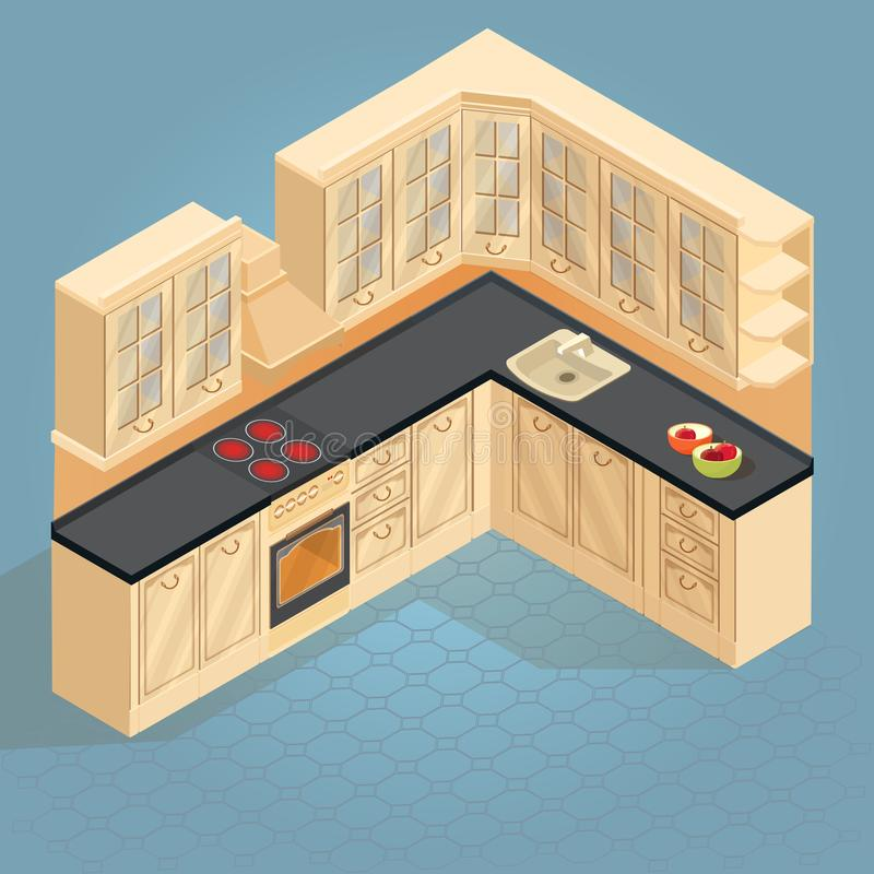 Isometric cartoon retro kitchen furniture icon. Vector. vector illustration