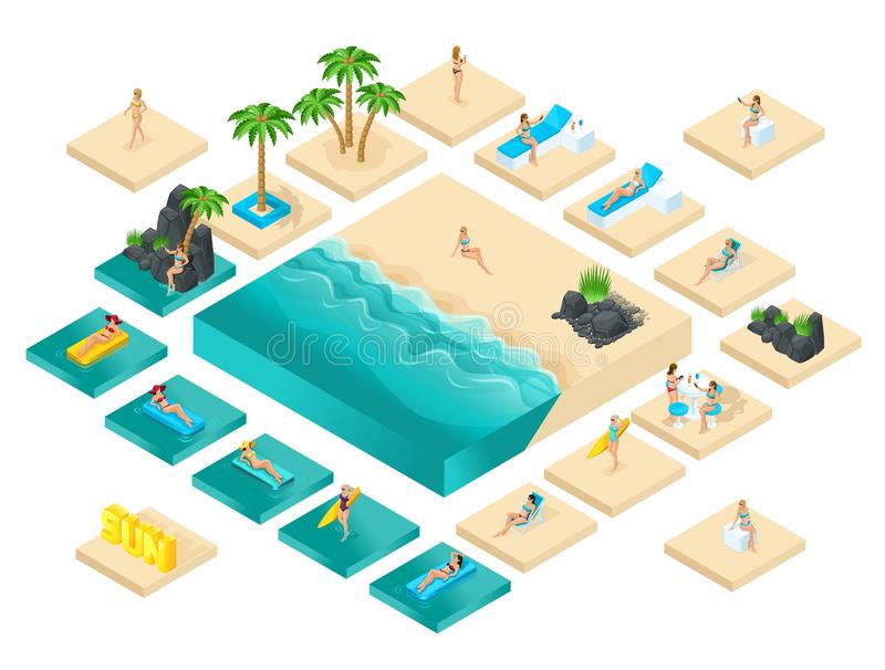 Isometric cartoon vector people, 3d girl in swimsuit, set for creating her beach with beautiful sea waves bright summer. Vector illustration stock illustration