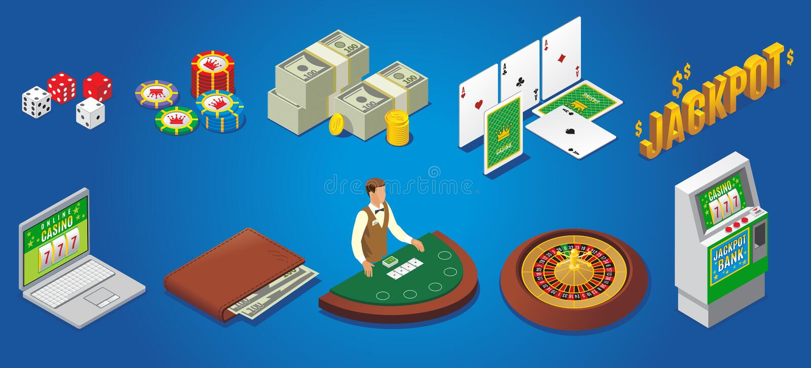 Isometric Casino Icons Set. With dice poker chips money playing cards jackpot online gambling wallet croupier roulette slot machine vector illustration vector illustration