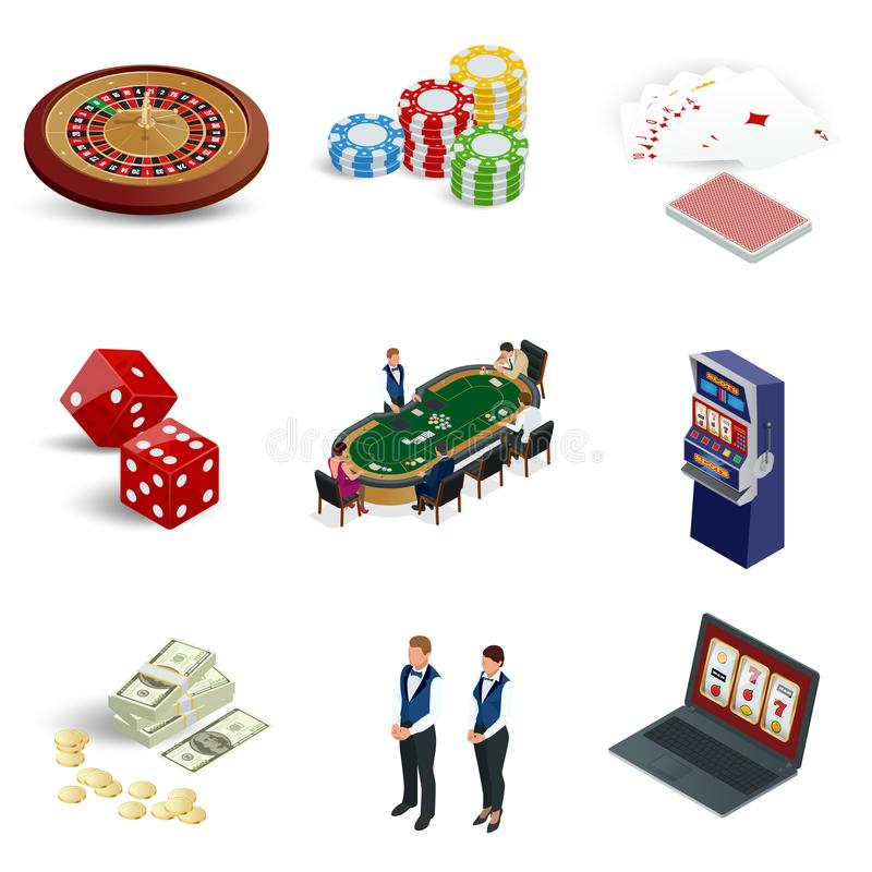 Isometric casino icons set. Laptop with roulette, slot machine, dice, casino chips and playing cards isolated on stock illustration