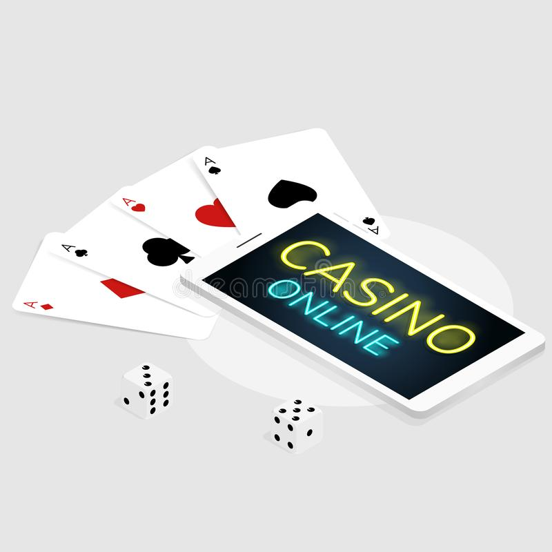 Isometric mobile casino online card & dice coins vector vector illustration