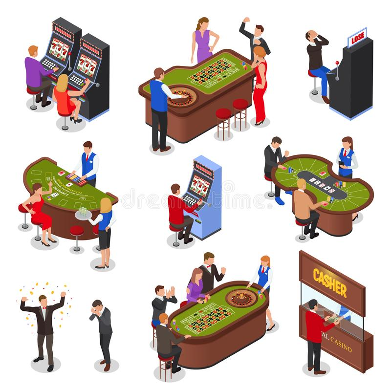 Isometric Casino Set. Casino playing room isometric elements set with slot machines roulette black jack cards games isolated vector illustration vector illustration