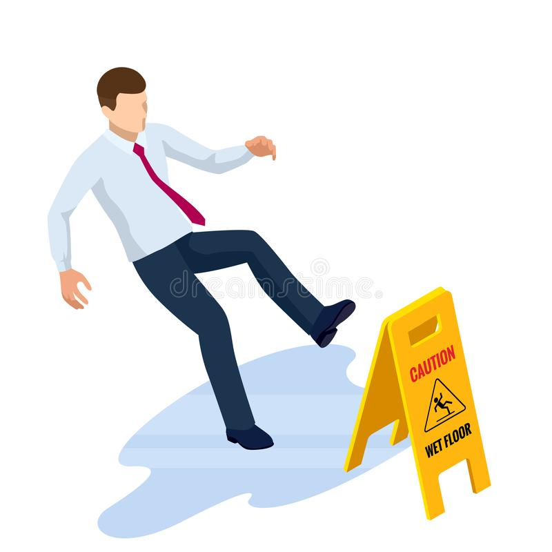 Isometric caution wet floor sign isolated on white background. The man slipped on the wet floor. Isometric caution wet floor sign isolated on white background stock illustration