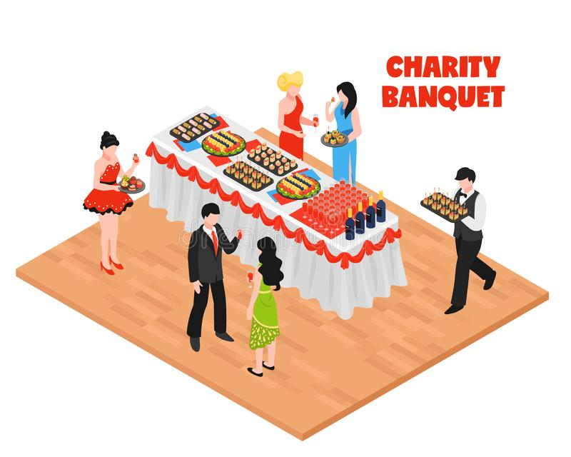 Isometric Charity Banquet Background royalty free illustration
