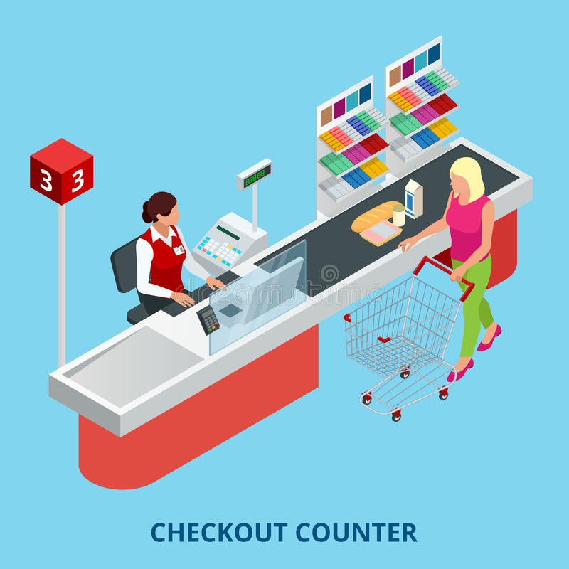 Isometric Checkout counter. Woman paying with a credit card to a store clerk in a supermarket. Quality service and. Supermarket web banner stock illustration