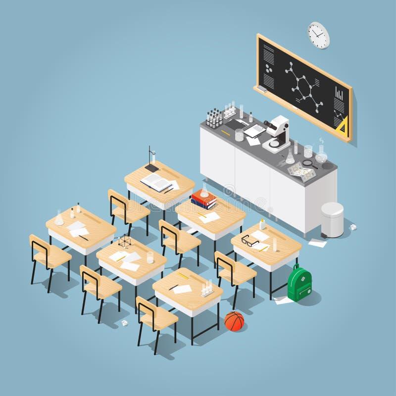 Isometric chemii sala lekcyjnej ilustracja ilustracji
