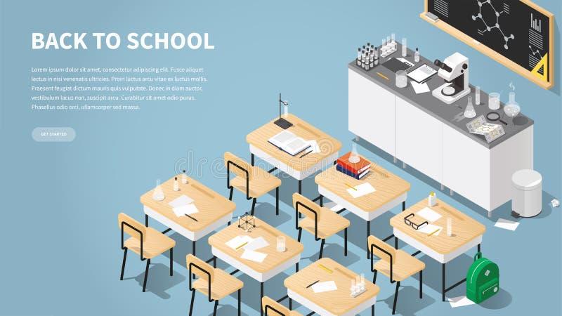 Isometric Chemistry Classroom Landing Page. Vector isometric illustration of chemistry class landing page. Classroom laboratory with necessary equipment, student stock illustration