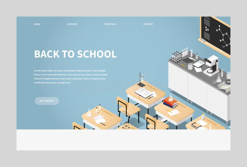 Isometric Chemistry Classroom Landing Page. Vector isometric illustration of chemistry class landing page. Classroom laboratory with necessary equipment, student vector illustration