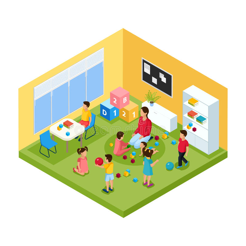 Isometric Children In Kindergarten Concept. With nanny and group of playing cheerful kids vector illustration stock illustration