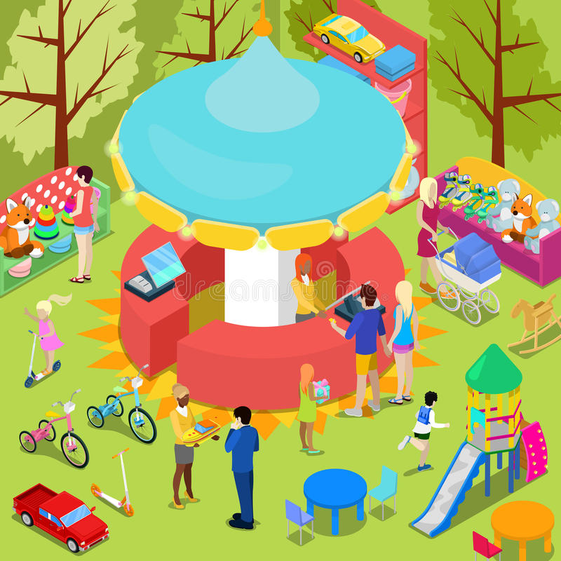 Isometric Children Toys Shop Interior with Toys and People vector illustration