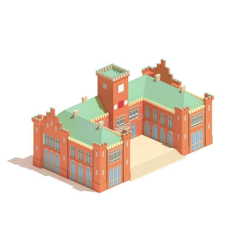 Flat 3d model isometric castle or university building illustration isolated on white background. vector illustration