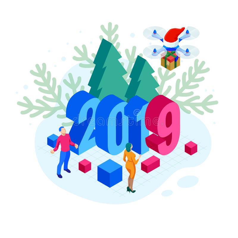 Isometric 2019 Christmas or New Year background. Drones with Santa`s hat delivering Christmas gifts. Vector illustration vector illustration