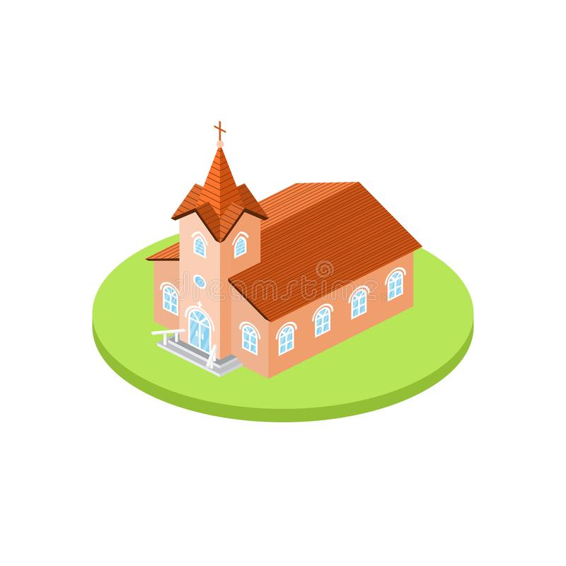 Isometric church icon. For web design and application interface, also useful for infographics. vector illustration