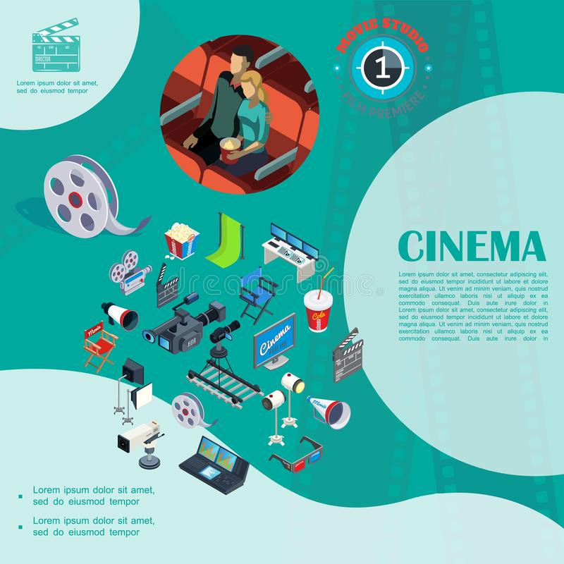 Isometric Cinema Colorful Template royalty free illustration