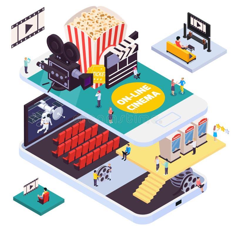 Online Cinema Isometric Composition stock illustration