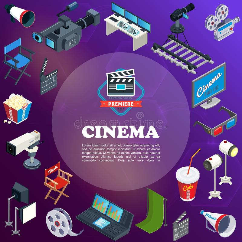 Isometric Cinema Concept vector illustration