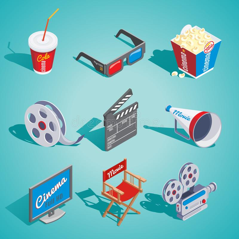 Isometric Cinema Elements Set vector illustration