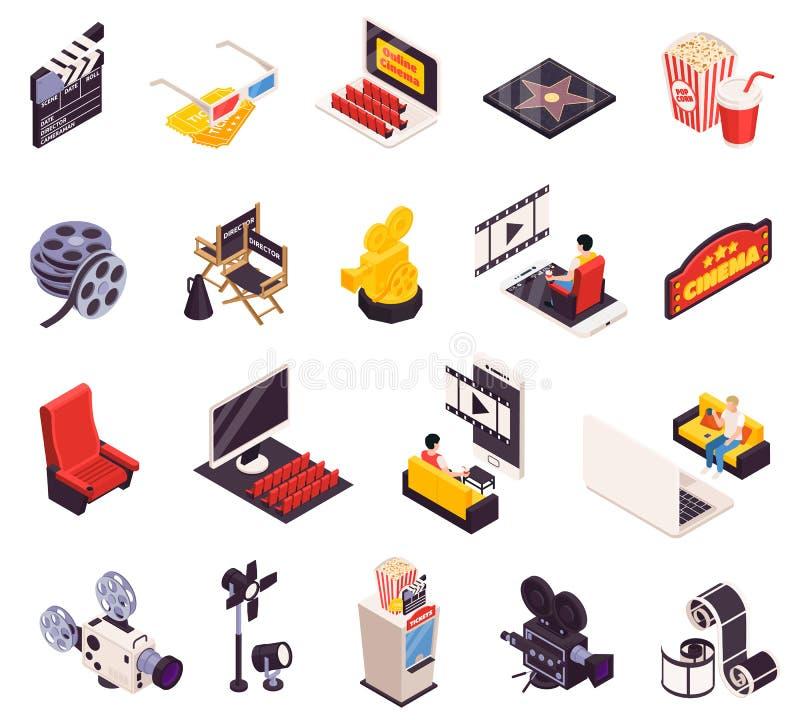 Isometric Cinema Icon Set vector illustration