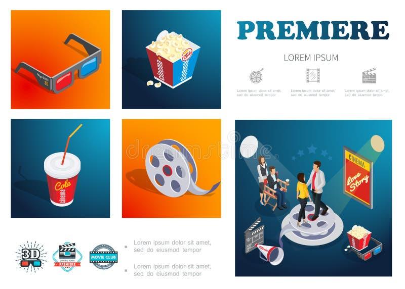 Isometric Cinema Infographic Concept royalty free illustration