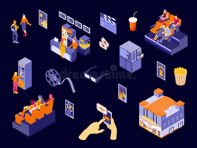 Isometric Cinema Set stock illustration
