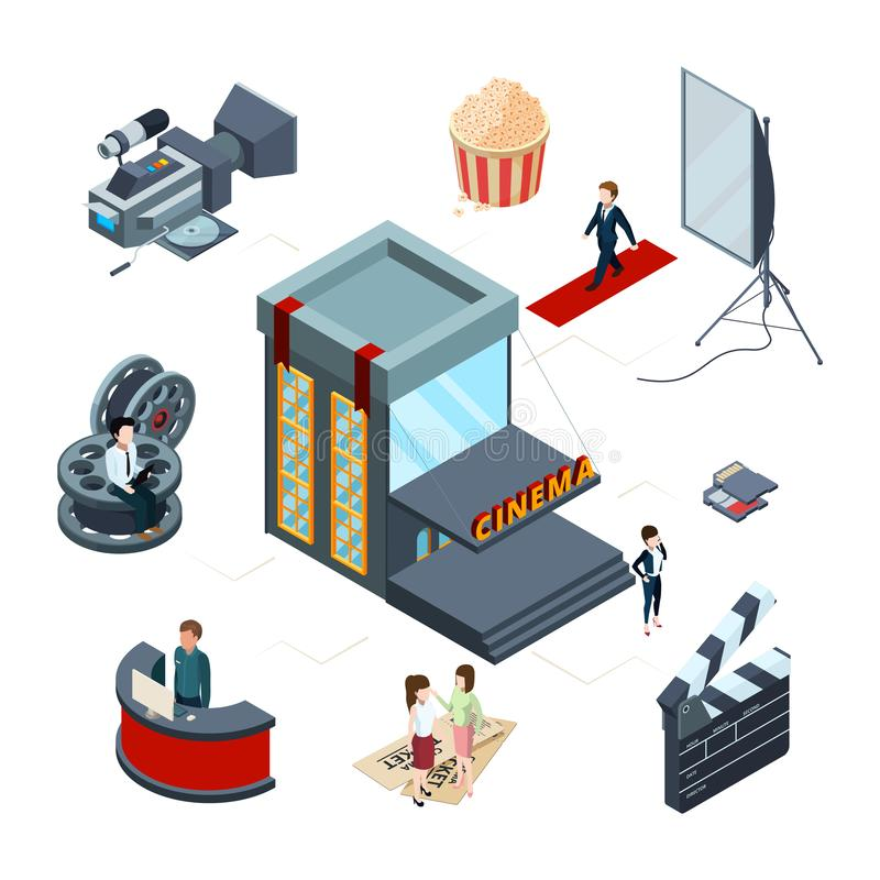 Isometric cinema vector concept. Film production 3D illustration royalty free illustration