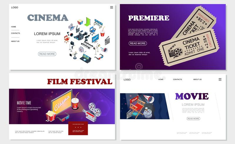 Isometric Cinema Websites Set vector illustration