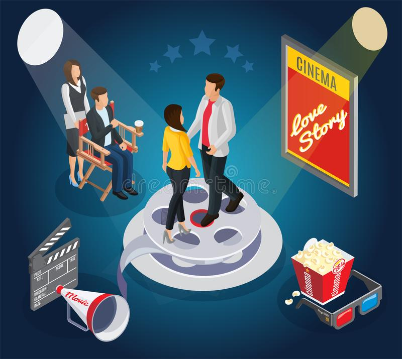 Isometric Cinematography Composition royalty free illustration